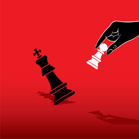 pawn to king: white pawn defeat black king chess concept design vector Illustration