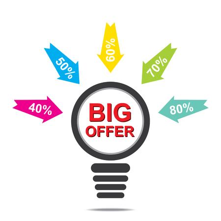 discount banner: big offer discount banner design vector Illustration