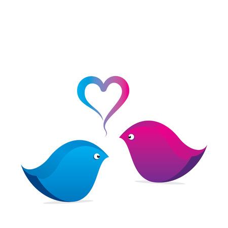 love bird: creative love bird design with heart shape design bubble concept vector