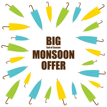 monsoon: big end of season monsoon offer banner design vector