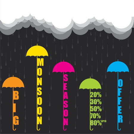creative big monsoon season offer banner design vector Ilustração