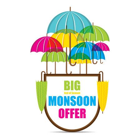 creative big monsoon offer sale banner or poster design vector
