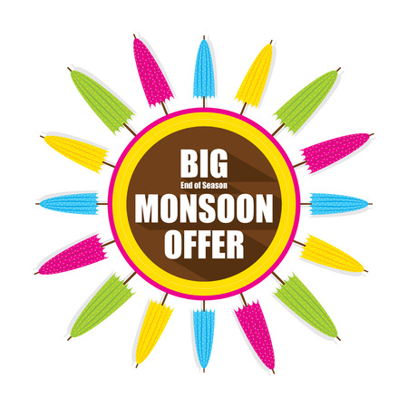 monsoon: colorful umbrella banner for big monsoon offer design vector Illustration