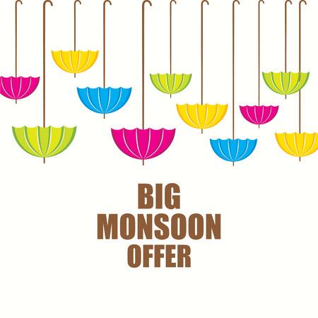 monsoon: big monsoon offer banner design using colorful umbrella design vector