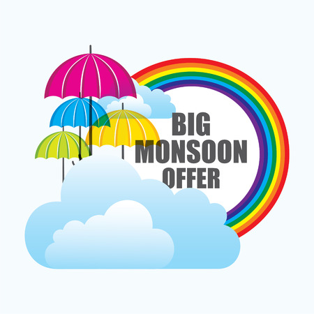 monsoon: big monsoon offer banner design with colorful umbrella and clouds vector