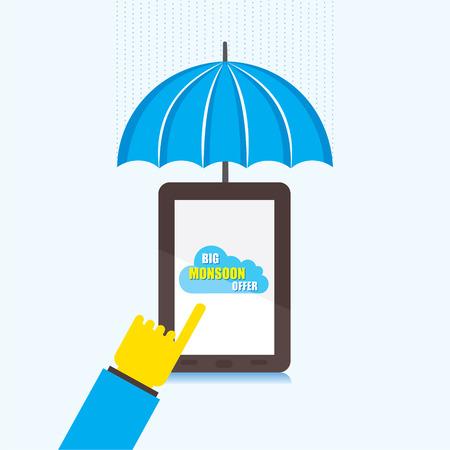monsoon: online big monsoon offer banner design using touch tablet  vector
