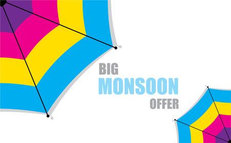 monsoon: creative big monsoon offer banner design vector Illustration