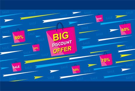 discount banner: big discount offer banner using shopping bag poster design vector