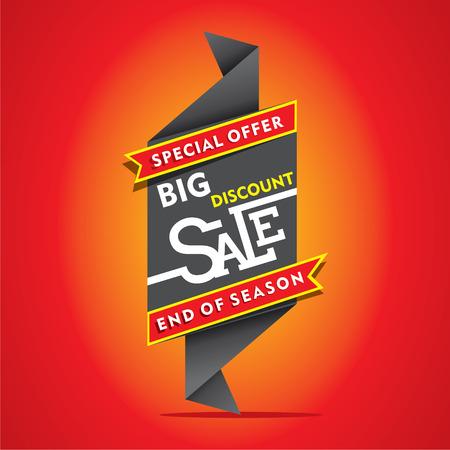 discount banner: big discount sale, end of season sale banner design vector