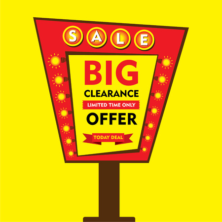 hoarding: big clearance offer, limited time sale hoarding style banner design vector