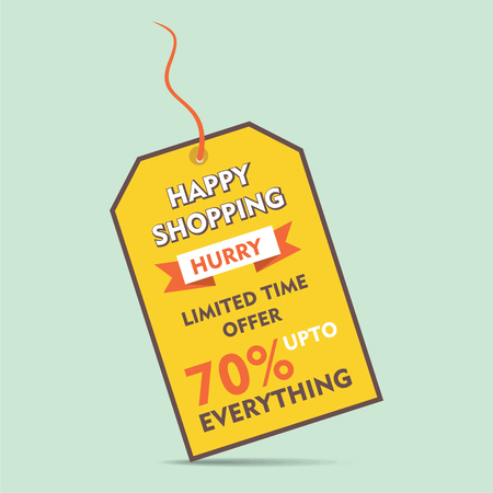discount banner: happy shopping big discount offer tag style banner design vector Illustration
