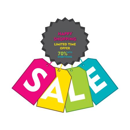 discount banner: creative happy shopping discount sale banner design vector
