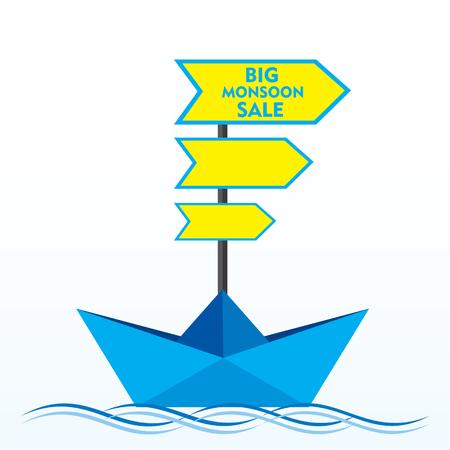 big boat: big clearance sale banner design with boat concept vector Illustration