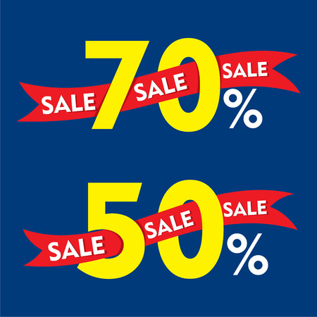 discount banner: 50 and 70 percentage discount sale banner design vector