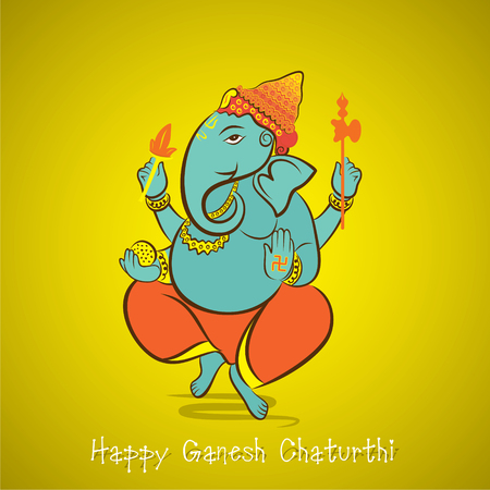 ganapati: happy ganesh chaturthi festival greeting card or poster design vector