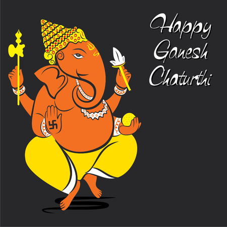 happy ganesh chaturthi festival greeting card or poster design vector