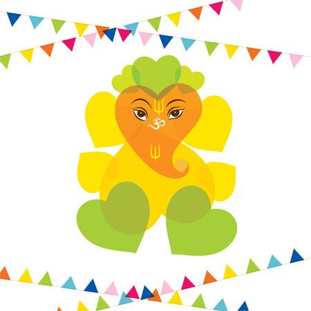 ganesh: happy ganesh chaturthi festival greeting card or poster design vector