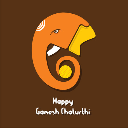 Ganesha chaturthi festival greeting card design vector