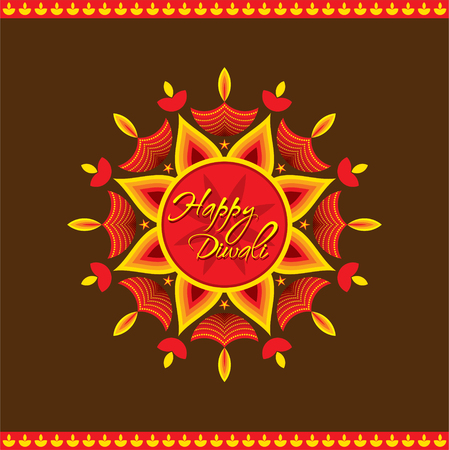 diyas: creative happy diwali greeting card design vector