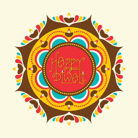 diyas: creative happy diwali greeting card design with diyas vector Illustration