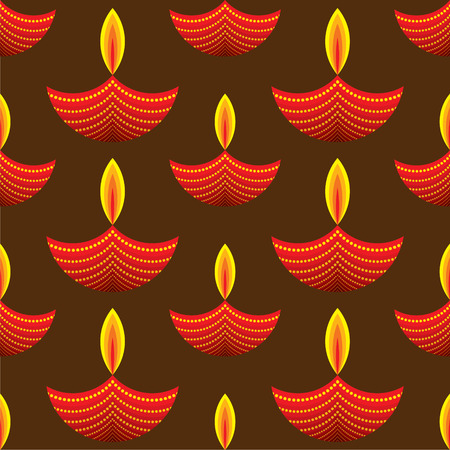 diyas: creative red diwali diya pattern background vector