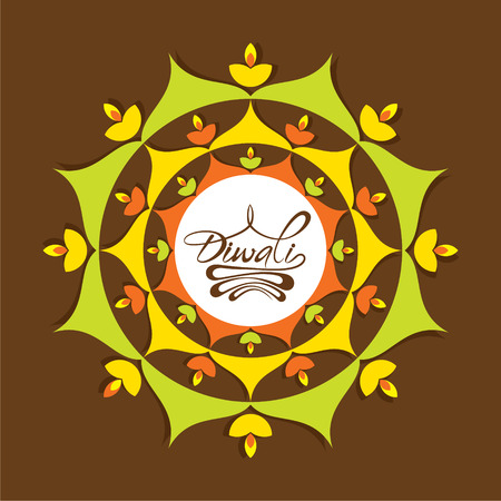 creative diwali greeting design with diya, or poster design