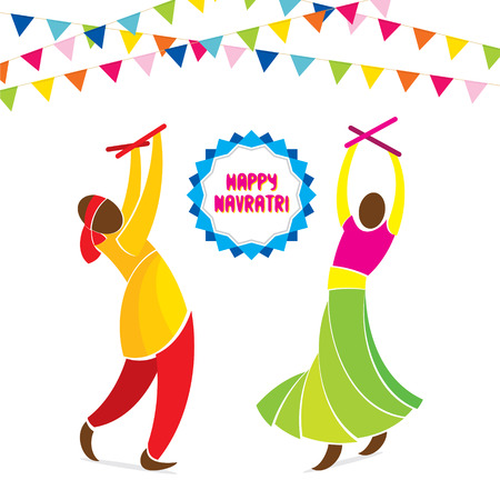 asian and indian ethnicities: happy navrati festival celebration greeting design vector