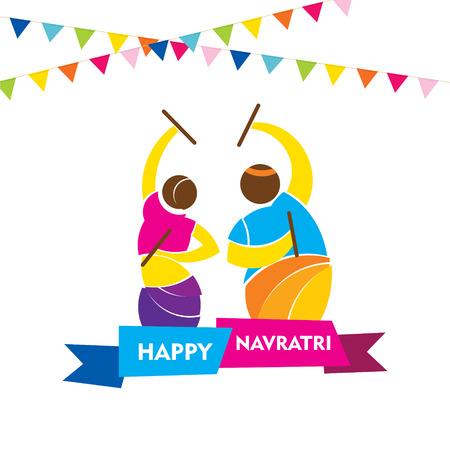 hinduismo: feliz festival de Navratri, danza Garba cartel del diseño del vector