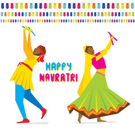 celebrate navratri festival with dancing garba design vector Иллюстрация