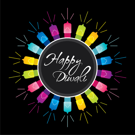 happy diwali festival greeting design with colorful lighting vector