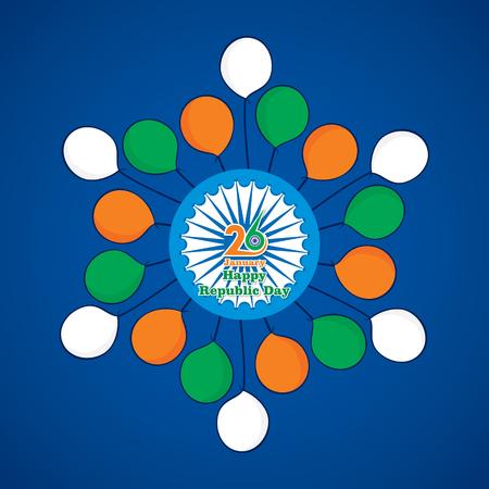 india flag color ballon with ashoka chakra, happy indian republic day design