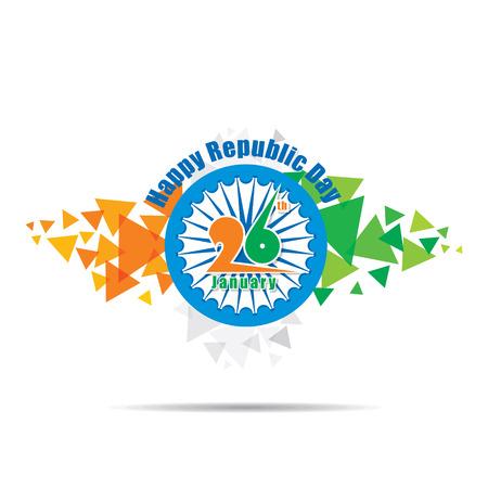 triangle three color pattern with ashoka chakra, happy indian republic day design Illustration