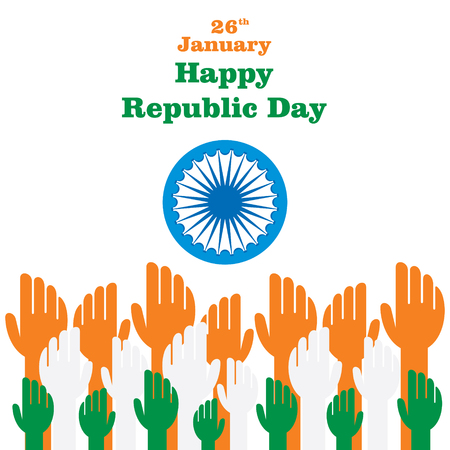 Indian republic day design , three color hand up with ashoka chakra