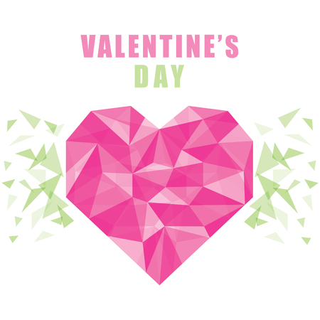 creative happy valentines day poster design using crystal style pattern Illustration