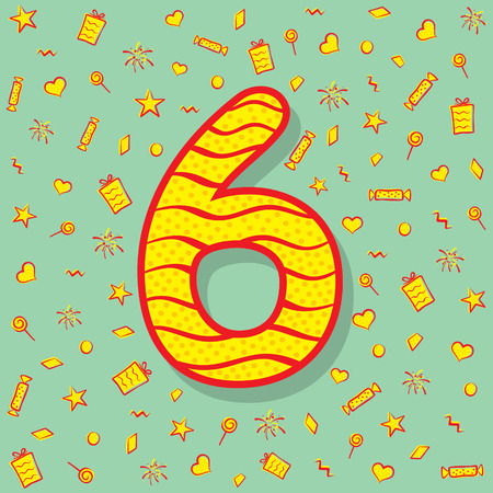 number six with different object like gift box, star, heart,and different shape background design
