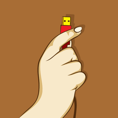 unplug: usb cable hold in hand, data transfer concept design Illustration