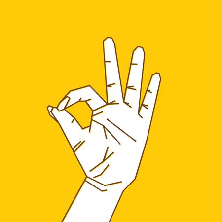 Women hand show OK sign design concept