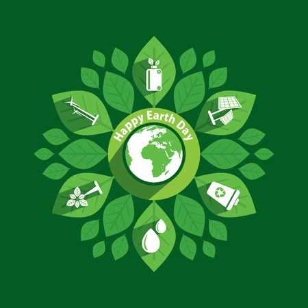 Green earth day poster, using green natural energy generator concept design Vectores