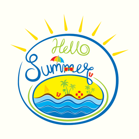 sleeper: Creative hello summer typography background with boat, sea, tree, colorful umbrella design Illustration