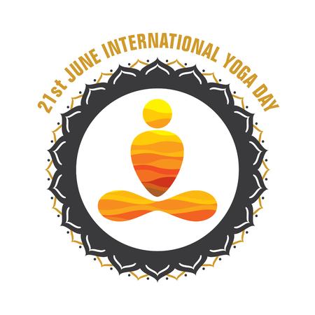 spiritual energy: creative yoga pose icon design for international yoga day Illustration