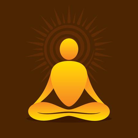 creative yoga pose icon design