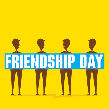happy friendship day poster fried hold in hand design