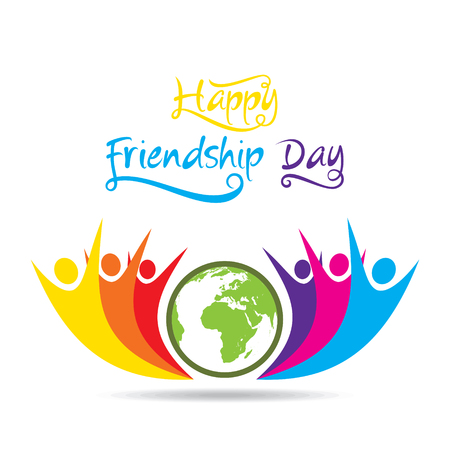 happy friendship day poster design, global friendship Illustration