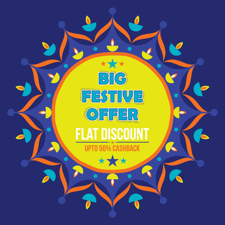 A creative big festive banner design ,diwali festival offer illustration.