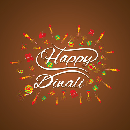 happy diwali greeting card with fire cracker design