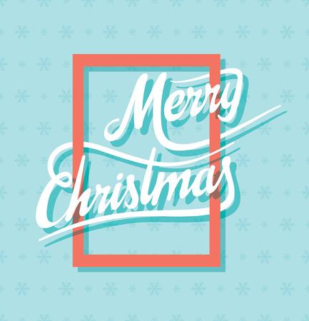 vintage postcard: merry christmas text on orange frame design Illustration