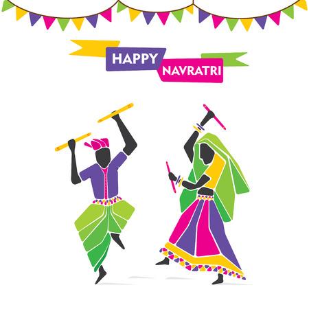 night dress: happy navratri, playing dandiya dance poster design