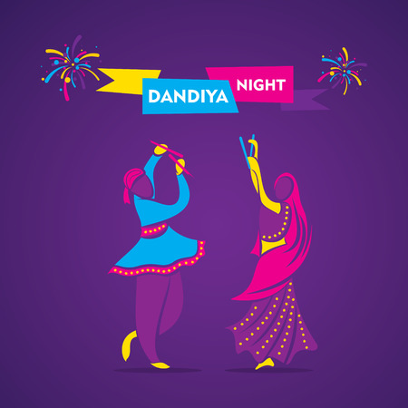 creative dandiya night, garba dance banner design