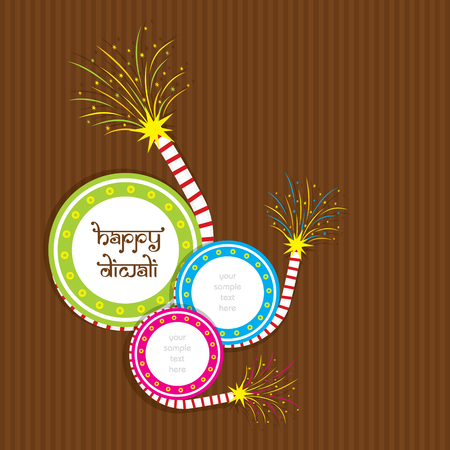 A beautiful greeting card with colorful craker, indian diwali festival celebration design
