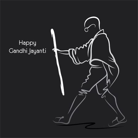 Poster of Mahatma Gandhi walking, 2nd october Gandhi Jayanti illustration design